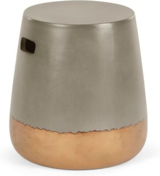 An Image of Edson Garden Stool, Gold and Grey Cement