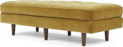 An Image of Scott Ottoman Bench, Gold Cotton Velvet