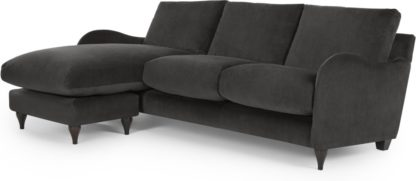 An Image of Sofia Chaise End, Velvet Plush Asphalt