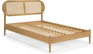 An Image of Reema Double Bed, Natural Oak and Cane