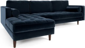 An Image of Scott 4 Seater Left Hand Facing Chaise End Corner Sofa, Navy Cotton Velvet