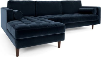 An Image of Scott 4 Seater Left Hand Facing Chaise End Corner Sofa, Navy Cotton Velvet