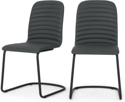An Image of Set of 2 Cata Cantilever Dining Chairs, Grey PU