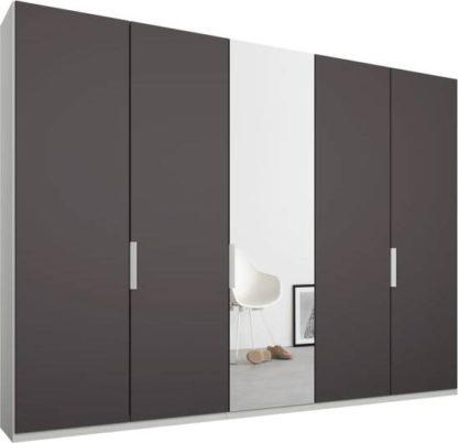 An Image of Caren 5 door 250cm Hinged Wardrobe, White Frame, Matt Graphite Grey & Mirror Doors, Standard Interior