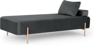 An Image of Asare Day Bed, Midnight Grey Velvet and Copper