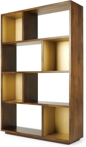 An Image of Anderson Wide Shelving Unit, Mango Wood and Brass