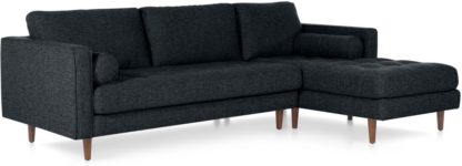 An Image of Scott 4 Seater Right Hand Facing Chaise End Corner Sofa, Textured Weave Navy