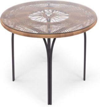 An Image of Lyra Garden 4 seater Round Dining Table, Charcoal Grey