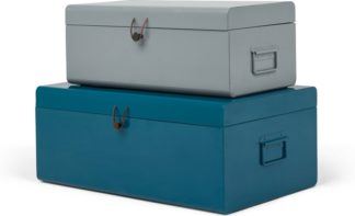 An Image of Daven Set of 2 Metal Storage Box Trunks, Teal & Grey