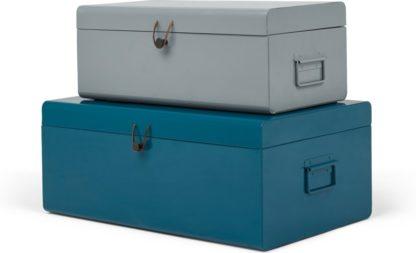 An Image of Daven Set of 2 Metal Storage Box Trunks, Teal & Grey