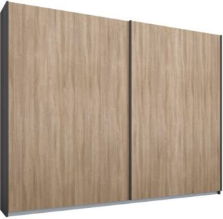 An Image of Malix 2 door 225cm Sliding Wardrobe, Graphite Grey frame,Oak doors, Standard Interior