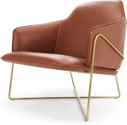 An Image of Stanley Accent Chair, Chestnut Brown Leather with Brushed Brass Frame