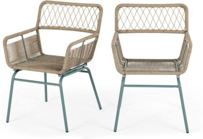 An Image of Lyra Garden Dining Chair Set, Grey and Blue