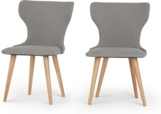 An Image of Set of 2 Bjorg Dining Chairs, Manhattan Grey and Oak