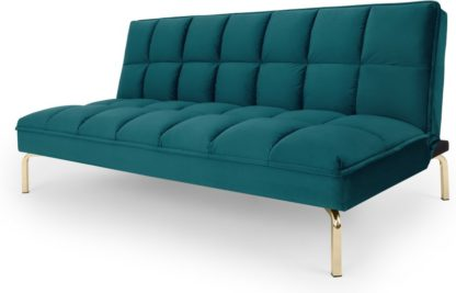 An Image of Hallie Sofa Bed, Tuscan Teal Velvet with Brass Legs