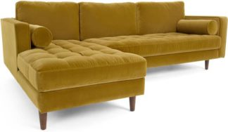 An Image of Scott 4 Seater Left Hand Facing Chaise End Corner Sofa, Gold Cotton Velvet