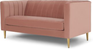 An Image of Amicie 2 Seater Sofa, Blush Pink Velvet