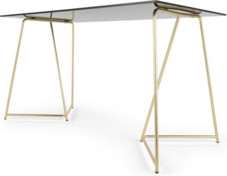 An Image of Patrizia Desk, Brass and Black Glass