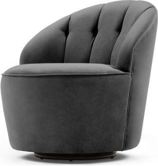 An Image of Margot Swivel Accent Armchair, Pewter Grey Velvet