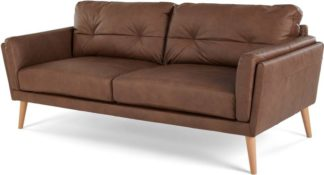 An Image of Sampson 3 Seater Sofa, Walnut Brown Leather
