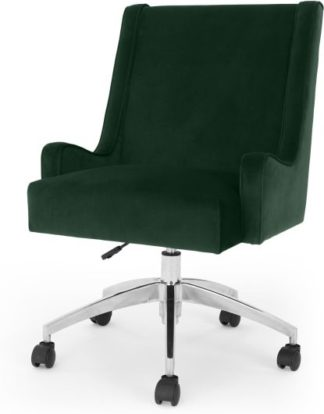 An Image of Higgs Office Chair, Pine Green Velvet