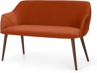 An Image of Lule Compact Dining Bench, Flame Orange Velvet and Walnut