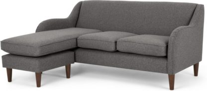An Image of Helena Large Chaise End Corner Sofa, Textured Weave Smoke Grey