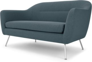 An Image of Reece 2 Seater Sofa, Mina Earl Blue with Metal Legs
