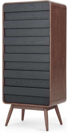 An Image of Esme Tall Chest, Dark Stain Ash & Grey