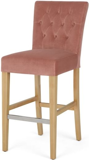 An Image of Flynn Bar Stool, Blush Pink Velvet and Birch