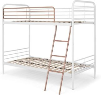 An Image of Alana Metal Bunk Bed, White and Copper