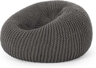 An Image of Aki 100% Wool Knitted Cocoon Bean Bag, Grey