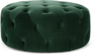 An Image of Hampton Large Round Pouffe, Pine Green Velvet