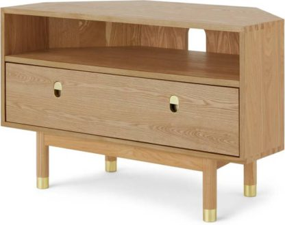 An Image of Fizzy Corner TV Stand, Ash and Brass
