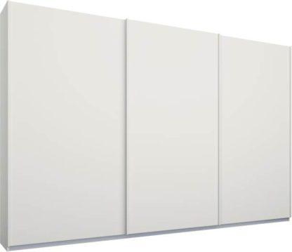 An Image of Malix 3 door 270cm Sliding Wardrobe, White frame,Matt White doors, Standard Interior