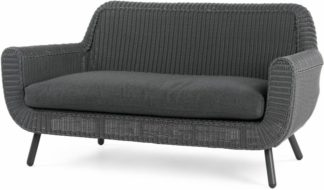 An Image of Jonah Garden 2 Seater Sofa, Rattan Grey