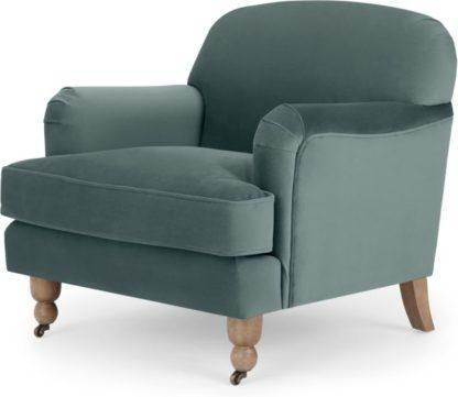 An Image of Orson Small Armchair, Marine Green Velvet