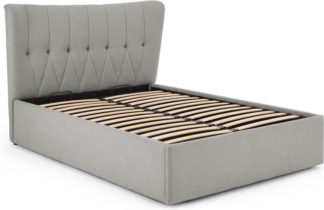 An Image of Charley Double Bed With Storage, Hail Grey