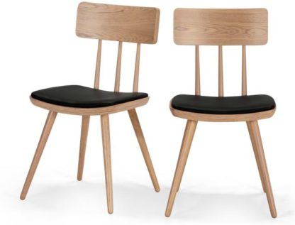 An Image of Set of 2 Kitson Dining Chairs, Natural Ash and Black
