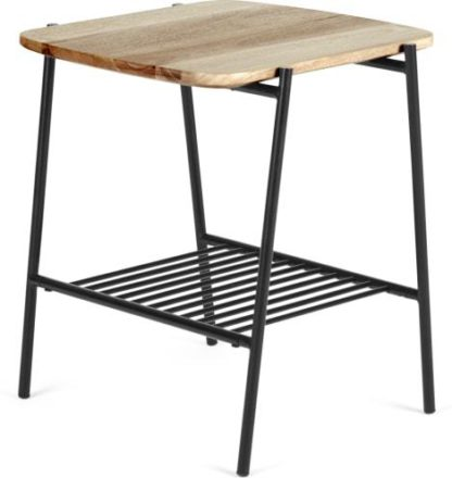An Image of Bortolin Side Table, Light Mango Wood and Black