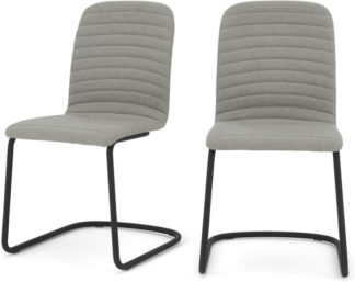An Image of Set of 2 Cata Cantilever Dining Chairs, Quilted Marl Grey