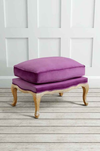 An Image of Le Notre French Vintage Style Shabby Chic Oak Stool Purple