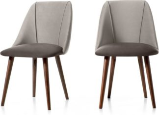 An Image of Set of 2 Lule Dining Chairs, Light and Dark Grey Velvet