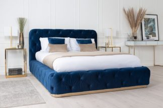 An Image of Frankfurt Storage Bed Royal Blue