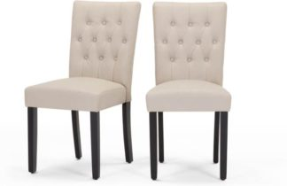 An Image of Set of 2 Flynn Dining Chairs, Putty Beige PU