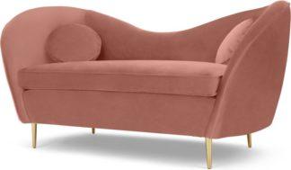 An Image of Kooper 2 Seater Sofa, Blush Pink Velvet