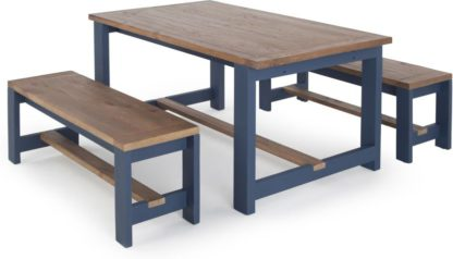 An Image of Bala Dining Table and Bench Set, Solid wood and Blue