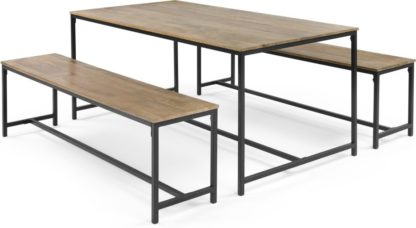 An Image of Lomond Dining Table Set, Mango Wood and Black