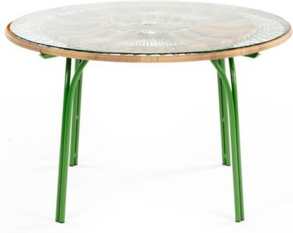 An Image of Lyra Garden 6 Seater Dining Table, Green