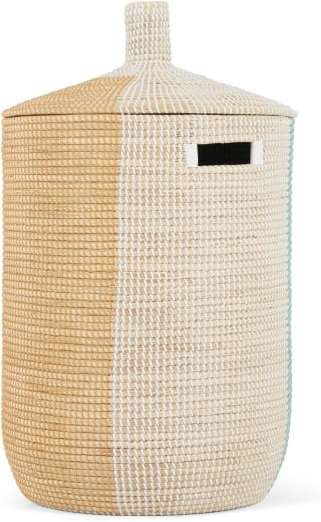 An Image of Havana Seagrass Laundry Basket, Mustard Yellow